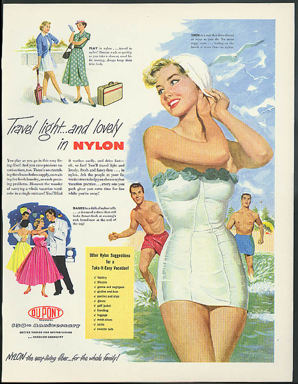 Travel light and lovely in Nylon by Du Pont ad 1952 pin-up swimsuit