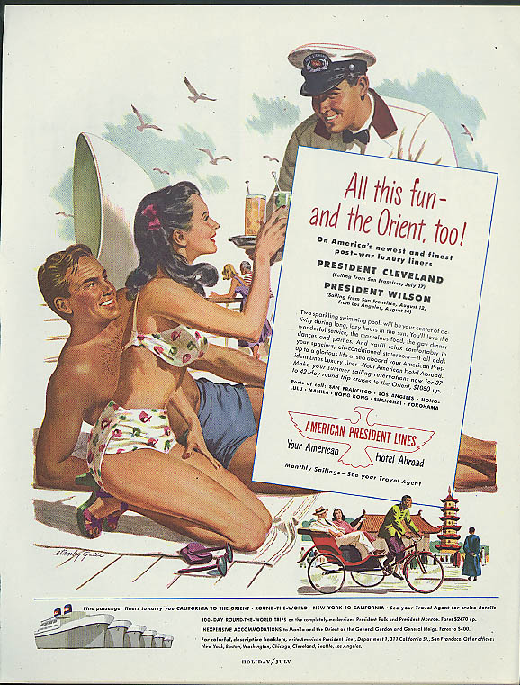 All this fun American President Lines ad 1948 Stanley Galli swimsuit pin-up