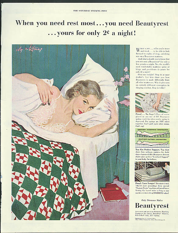 When you need rest most Beautyrest Mattress ad 1951 Coby Whitmore pin-up