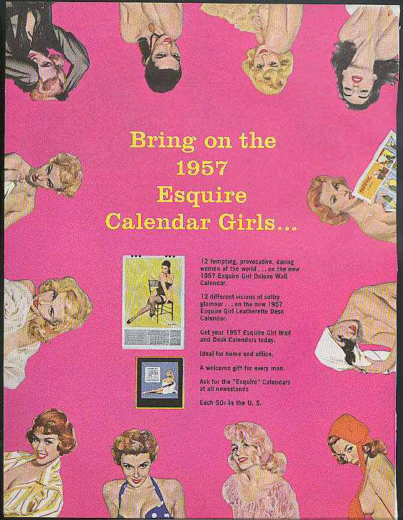 Bring on the 1957 Esquire Calendar Girls ad 1956