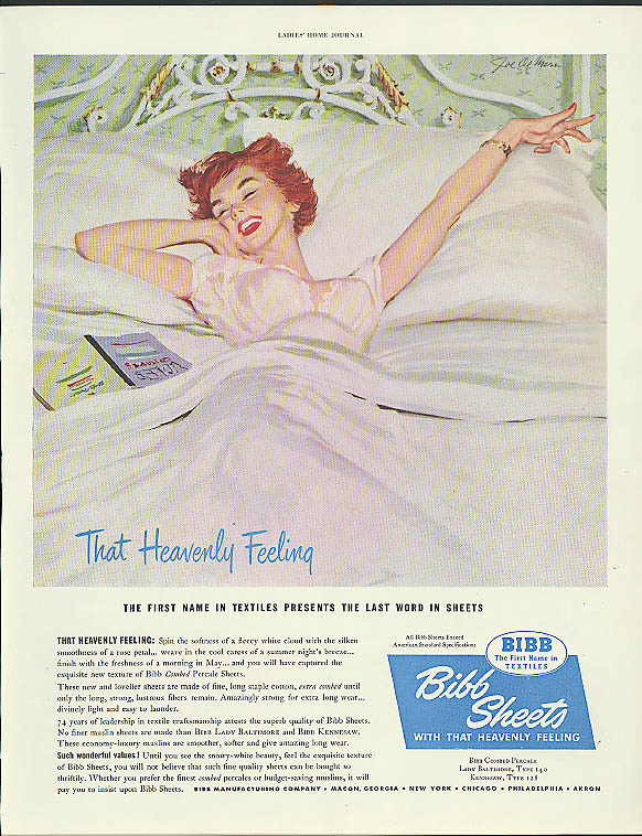 That Heavenly Feeling Bibb Sheets ad 1950 Joe De Mers pin-up art