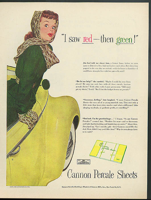 Image for I saw red - then green! Cannon Sheets ad 1948 Robert George Harris pin-up