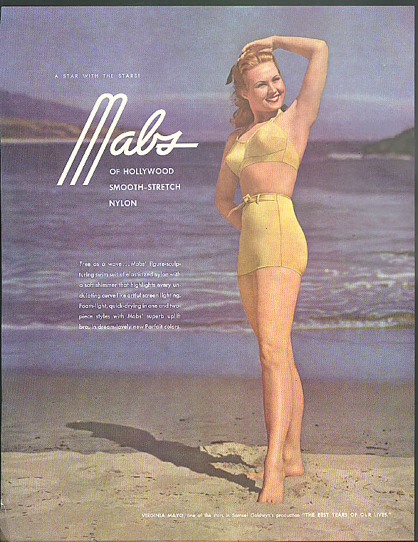 A star with the stars! Mabs of Hollywood Swimsuits ad 1947 Virginia Mayo