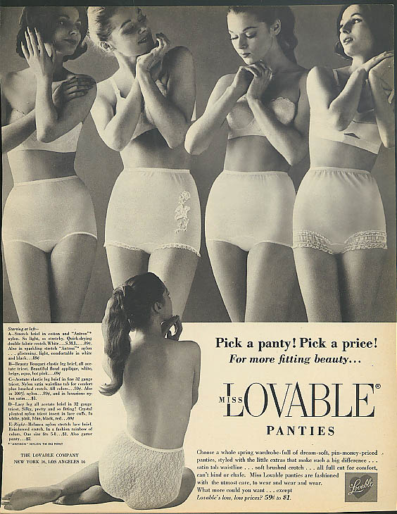 Pick a panty! Pick a price! Miss Lovable Panties ad 1961