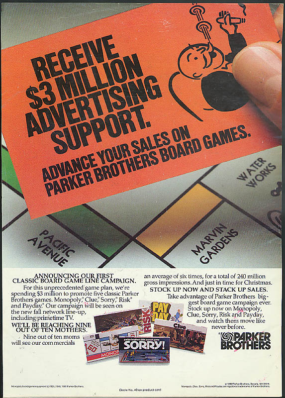 $3 million ad support Parker Brothers Monopoly Sorry! Clue Risk Pay Day ad 1982