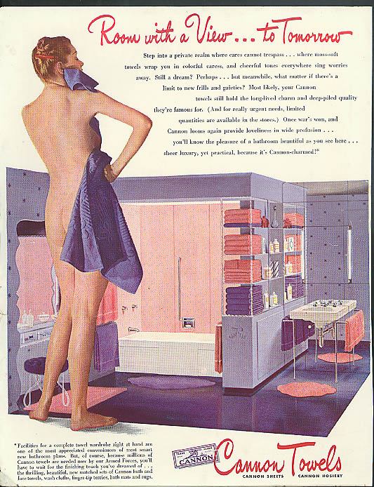 Image for Room with a View to Tomorrow Cannon Towels ad 1944 nude bottom