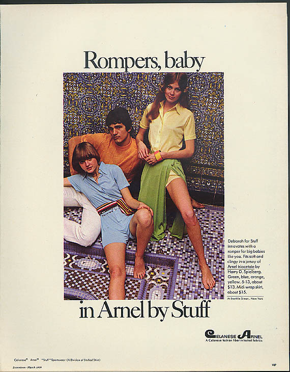 Image for Rompers, baby in Arnel by Deborah for Stuff jersey jumpsuit ad 1970