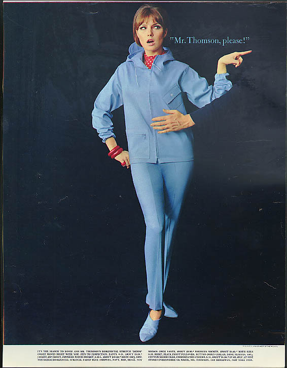 Image for Mr Thompson, please! Stretch denim jacket & pants ad 1965 man touching gal