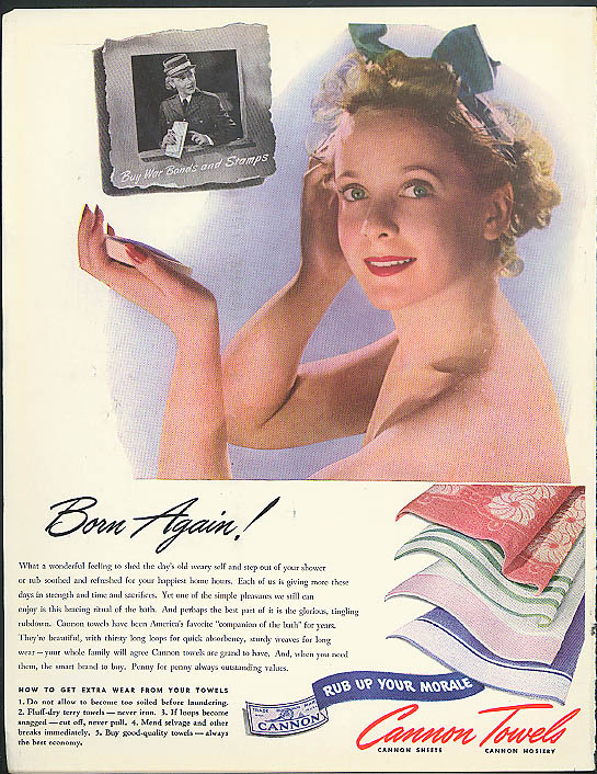 Born Again! Cannon Towels ad 1943 nude in shower, Buy War Bonds