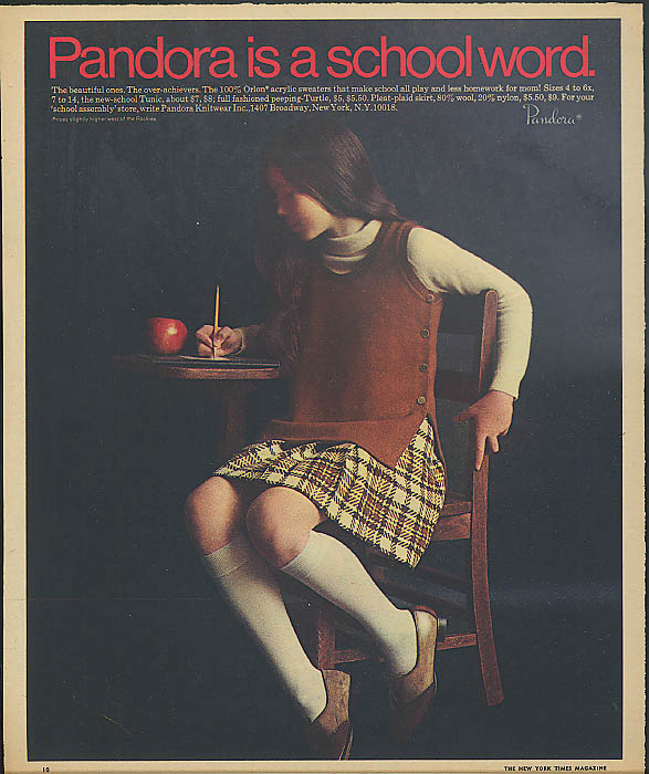 Image for Pandora is a school word ad 1969 sweater tunic skirt schoolgirl in kneesocks