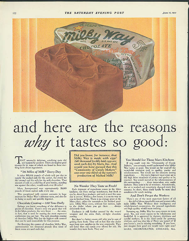 and here are the reasons why it tastes so good Milky Way Candy Bar ad 1931
