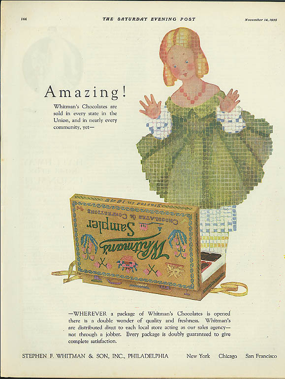 Amazing! Whitman's Chocolates Candy ad 1925