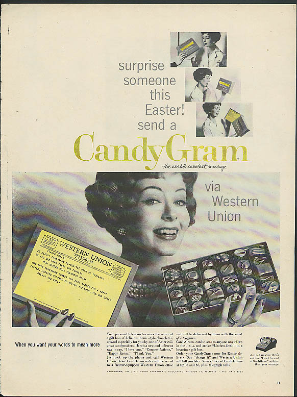 Image for Surprise somebody this Easter! Send a Western Union CandyGram ad 1959