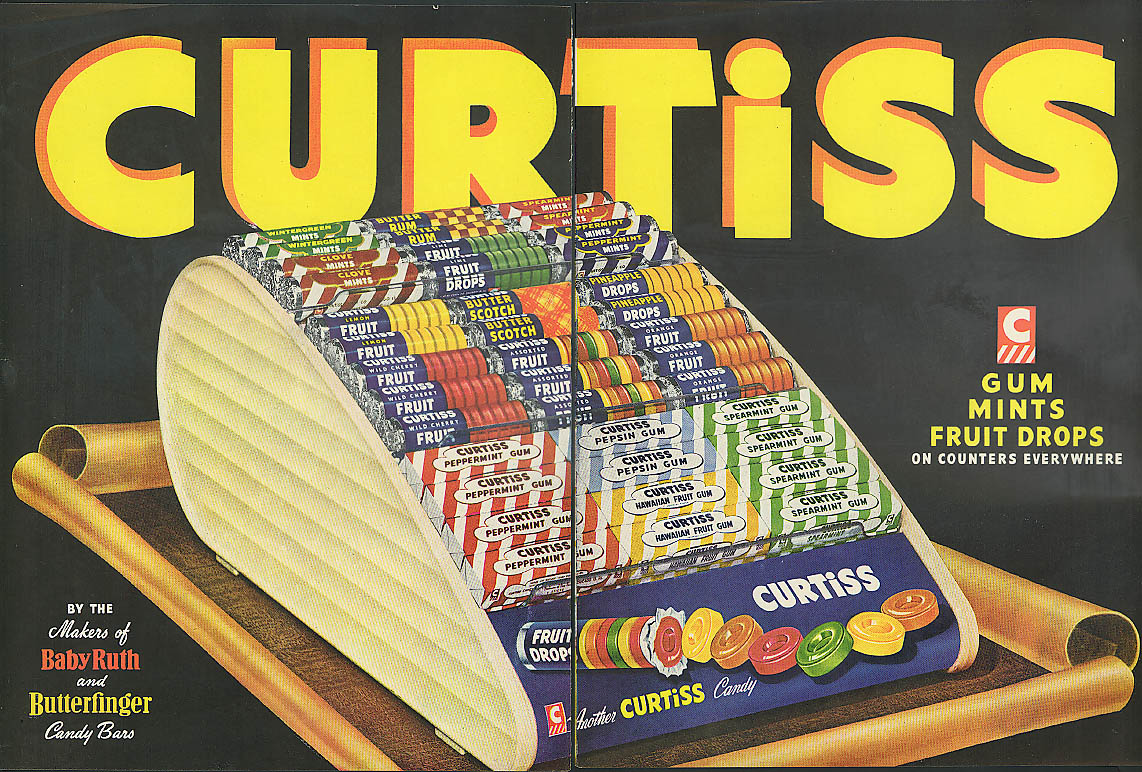 Image for Curtiss Gum Mints Fruit Drops on Counter Display ad 1949