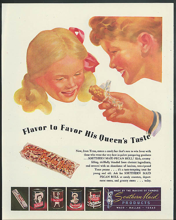 Image for Flavor to Favor His Queen's Taste Southern Maid Pecan Roll ad 1946