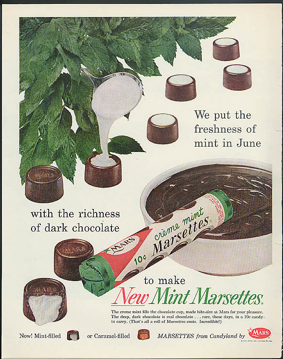 Image for Freshness of mint richness of chocolate Mint Marsettes Mars Candy ad 1959
