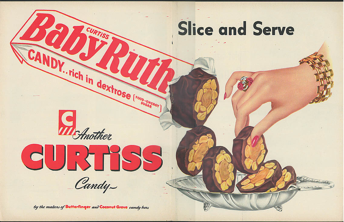 Image for Slice and Serve Butterfinger Candy Bar Curtiss ad 1949
