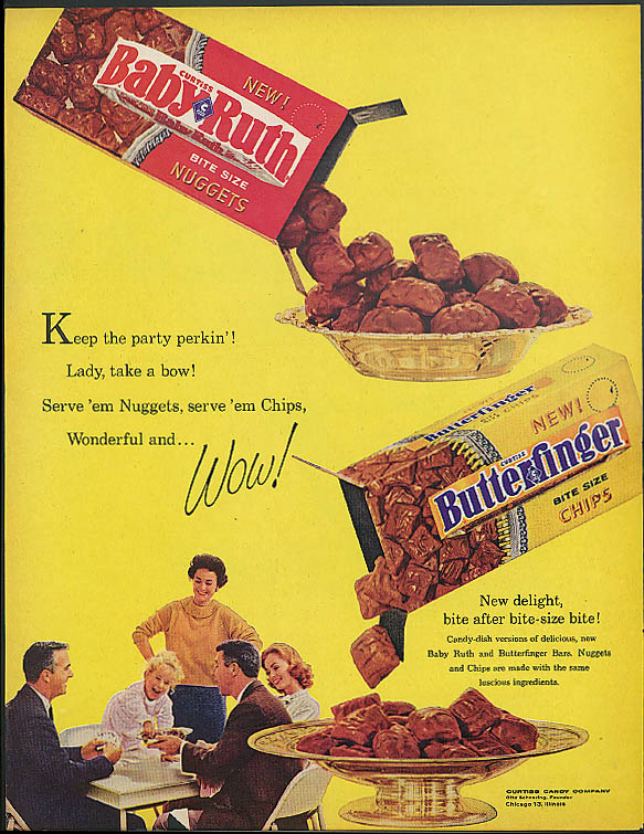 Image for Keep the party perkin'! Curtiss Baby Ruth Butterfinger candy bar ad 1961