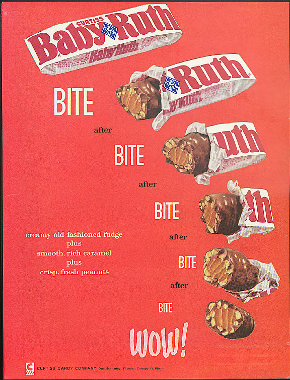 Image for Tall men small men kids & Pops Baby Ruth Candy Bar is tops! Curtiss ad 1961