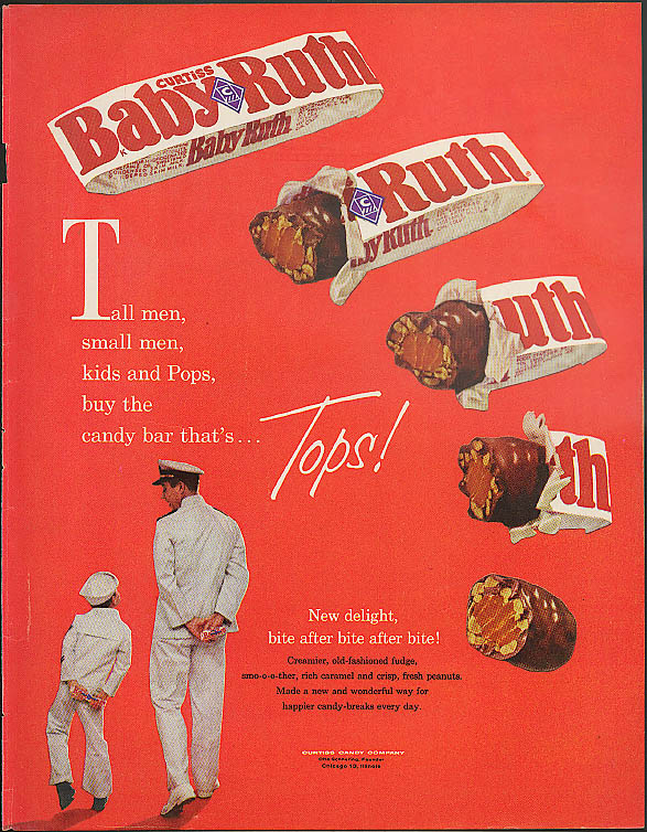 Image for Bite after Bite after Bite after Bite WOW! Curtiss Baby Ruth Candy bar ad 1960