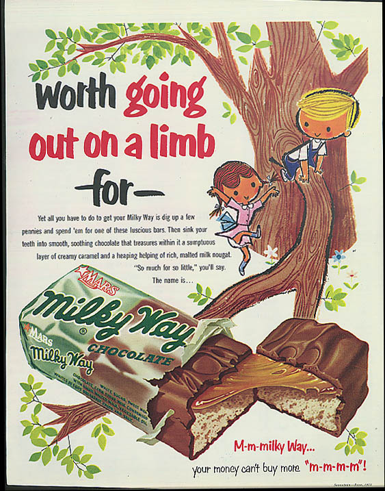 Image for Worth going out on a limb for Milky Way Candy Bar ad 1953