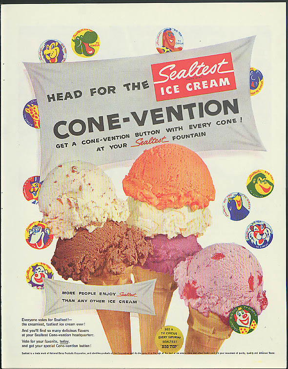 Image for Head for the Sealtest Ice Cream Cone-Vention Big Top TV Circus pinbacks ad 1956