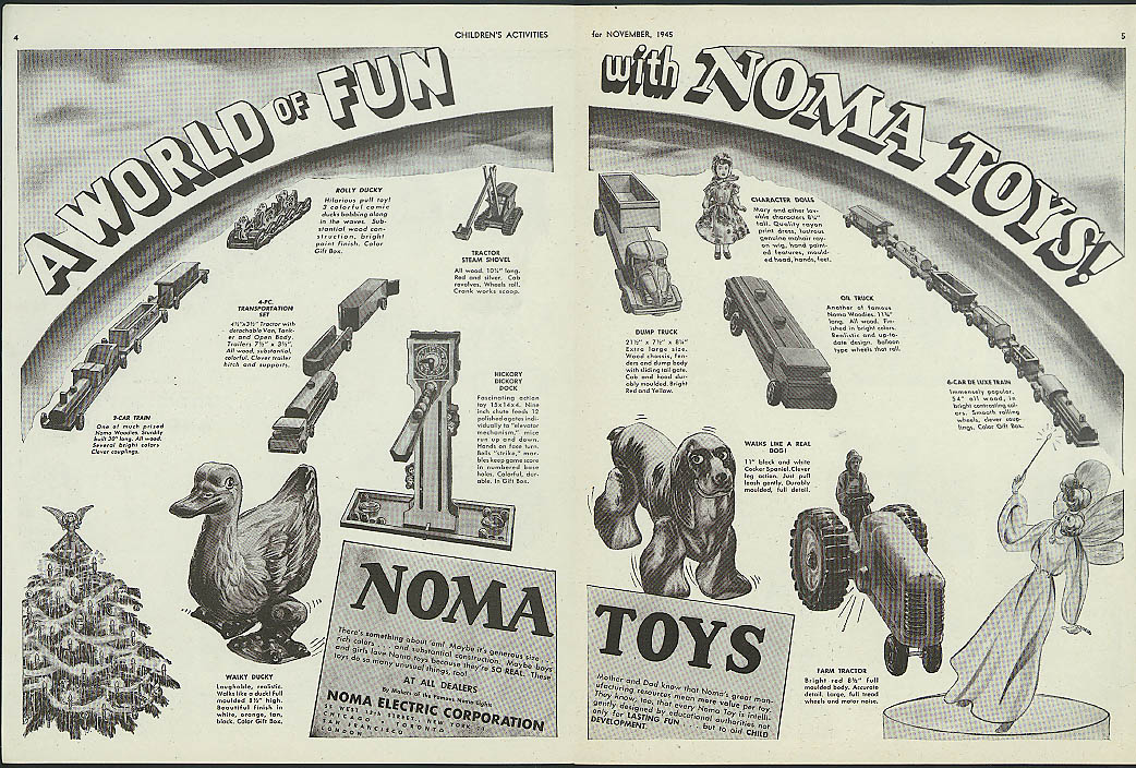 A World of Fun with Noma Toys train oil truck doll Walky Rolly Ducky ad 1945