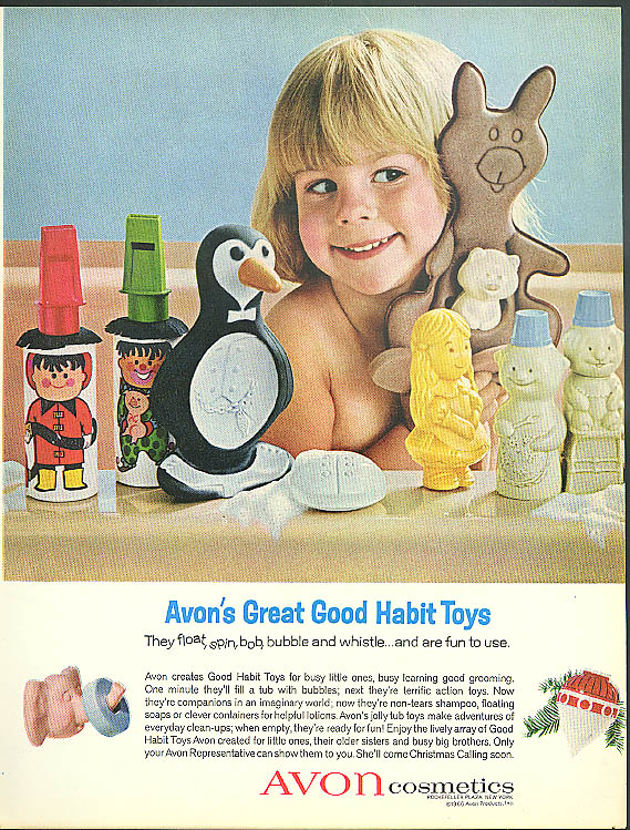 Avon's Great Good Habit Bath Toys ad 1967 they float spin bob & bubble