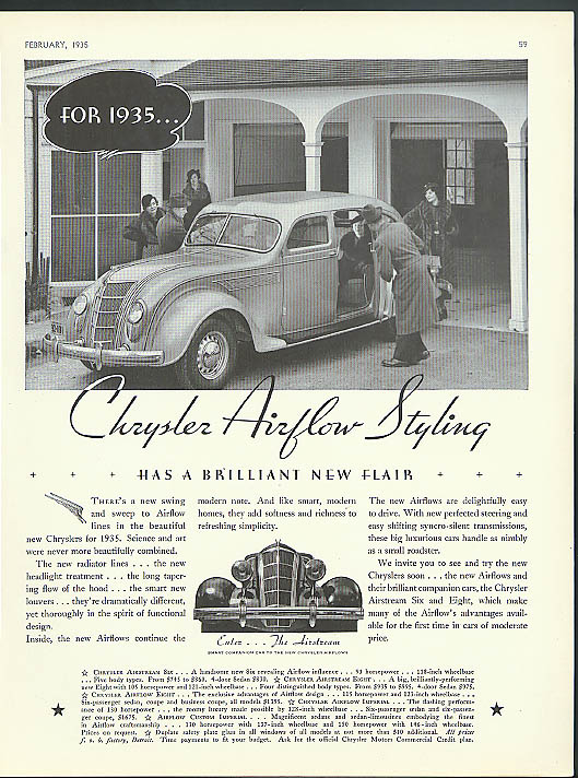Image for Chrysler's Airflow Styling has a brilliant new flair ad 1935