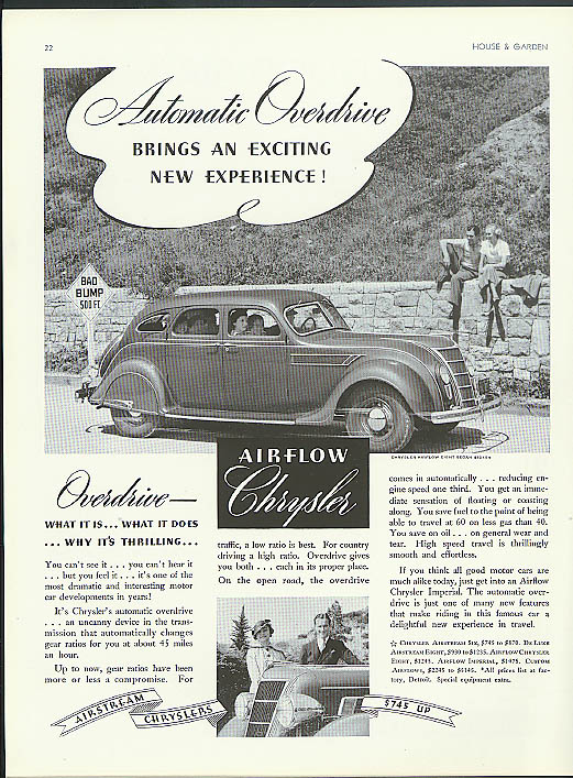 Image for Automatic Overdrive brings an exciting new experience! Airflow Chrysler ad 1935