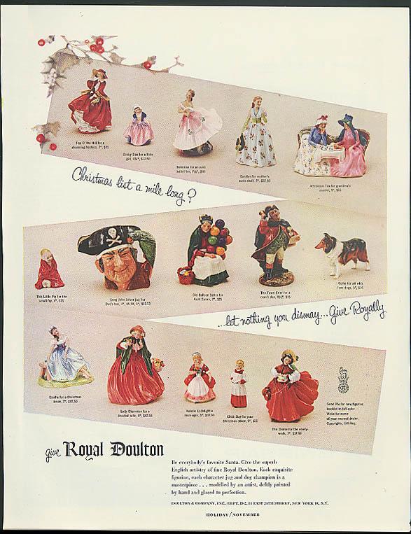 Christmas list a mile long? Royal Doulaton ad 1954 Long John Silver Dinky Doo +