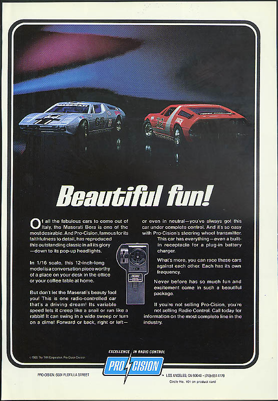 Beautiful fun! Pro-Cision Maserati Bora RC Car ad 1980
