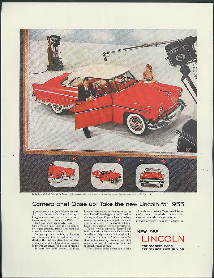 Image for Ed Sullivan & Julia Meade for Lincoln 2-door hardtop ad 1955