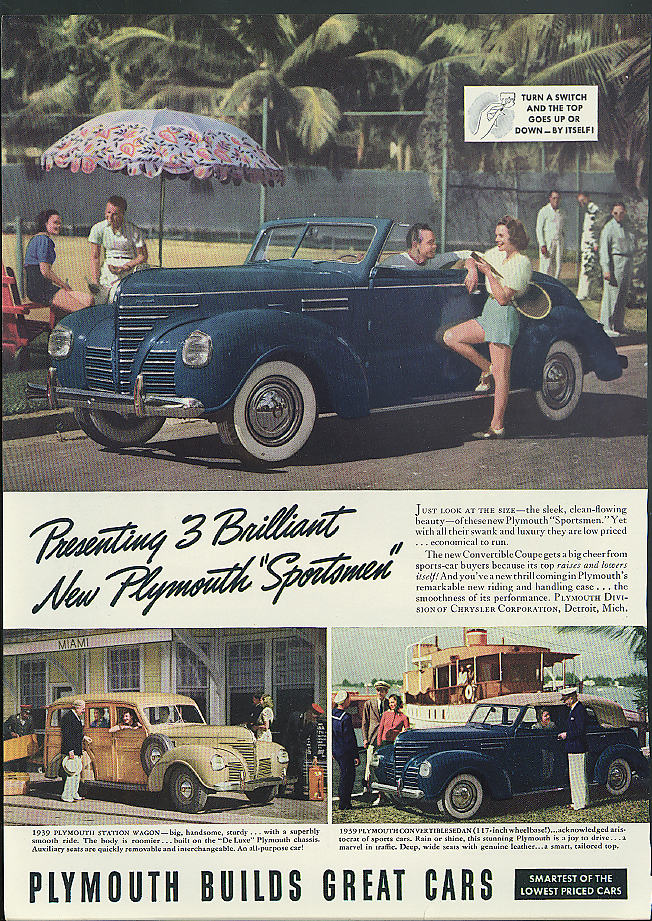 Image for Presenting 3 brilliant new Plymouth Sportsmen convertible sedan woodie ad 1939
