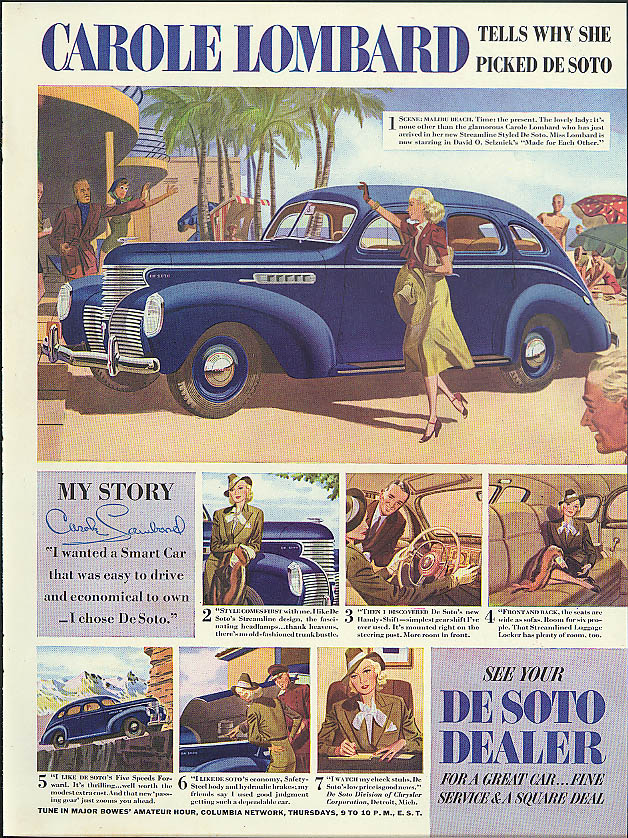 Image for Carole Lombard tells why she picked De Soto ad 1939