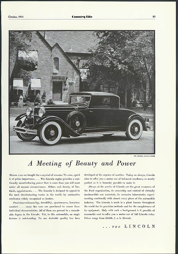 Image for A Meeting of Beauty & Power Lincoln Judkins Coupe ad 1931 1932