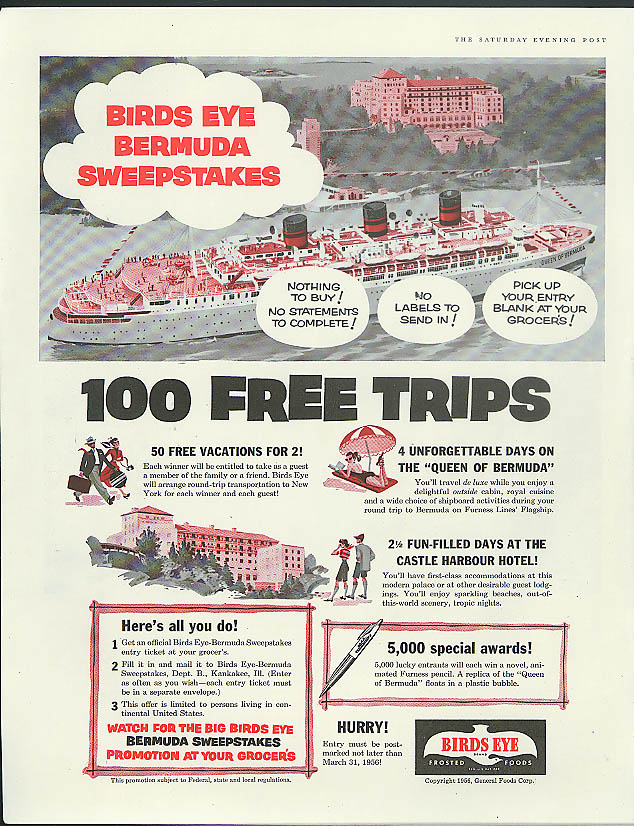 Birds Eye Foods S S Queen of Bermuda Contest ad 1956