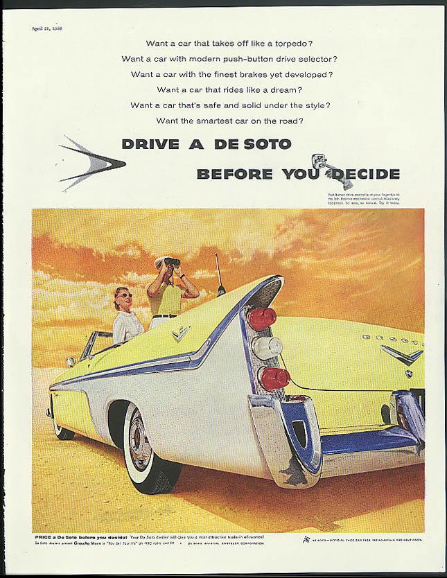 Image for Takes off like a torpedo Drive a De Soto Fireflte Convertible ad 1956