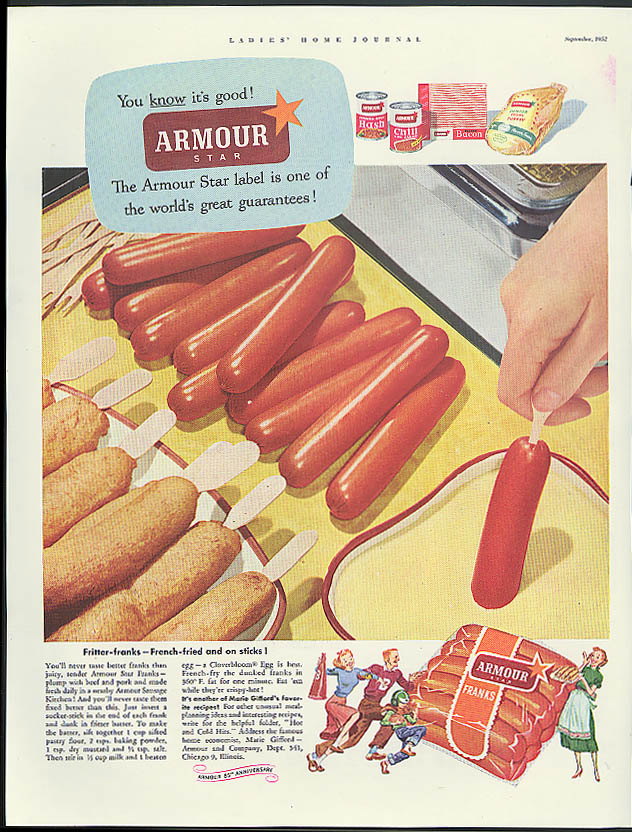 Image for Fritter-franks French-fried Armour Star Franks on a stick ad 1952