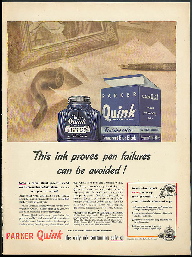 Image for This ink proves pen failures can be avoided! Parker Quink ad 1944