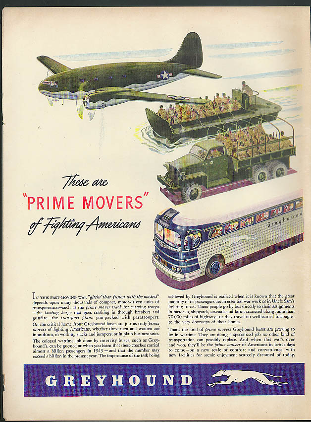 Image for These are Prime Movers C-46 LST 6x6 truck Greyhound Bus ad 1944