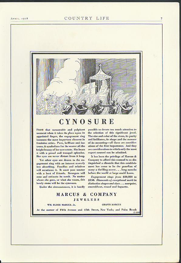 Cynosure . . . Marcus & Company Jewellers ad 1928 Rockwell Kent
