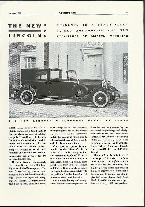 Image for The New Lincoln Willoughby Panel Brougham ad 1931