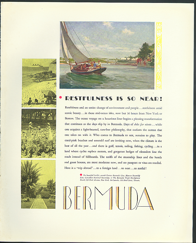 Restfulness is so near! Bermuda Trade Development tourism ad 1933