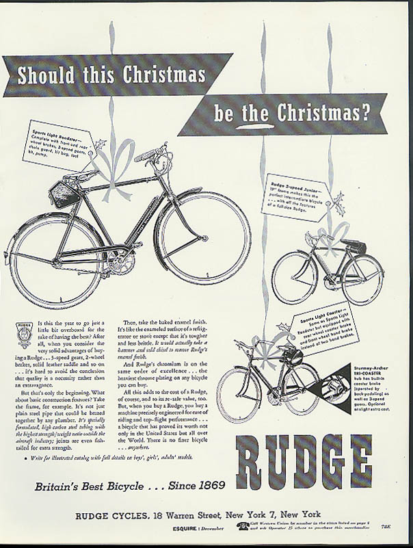 Should this Christmas be THE Christmas? Rudge Bicycle ad 1955