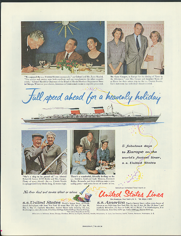 Full speed ahead for a heavenly holiday S S United States ad 1957 Gary Cooper