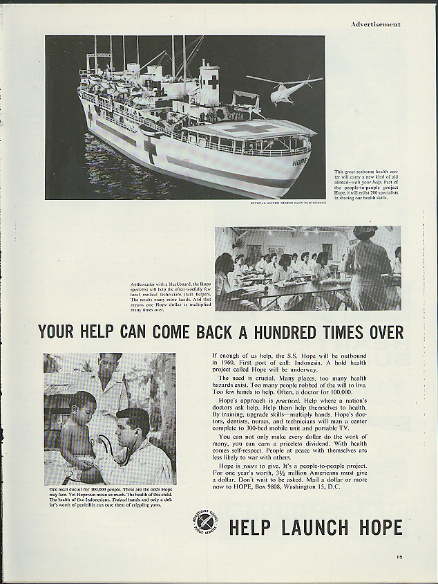 Image for Your help can come back a hundred times Launch SS Hope Hospital Ship ad 1960
