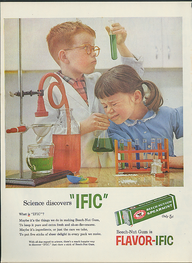 Image for Science discovers IFIC Beech-Nut Spearmint Gum ad 1958 kids in laboratory