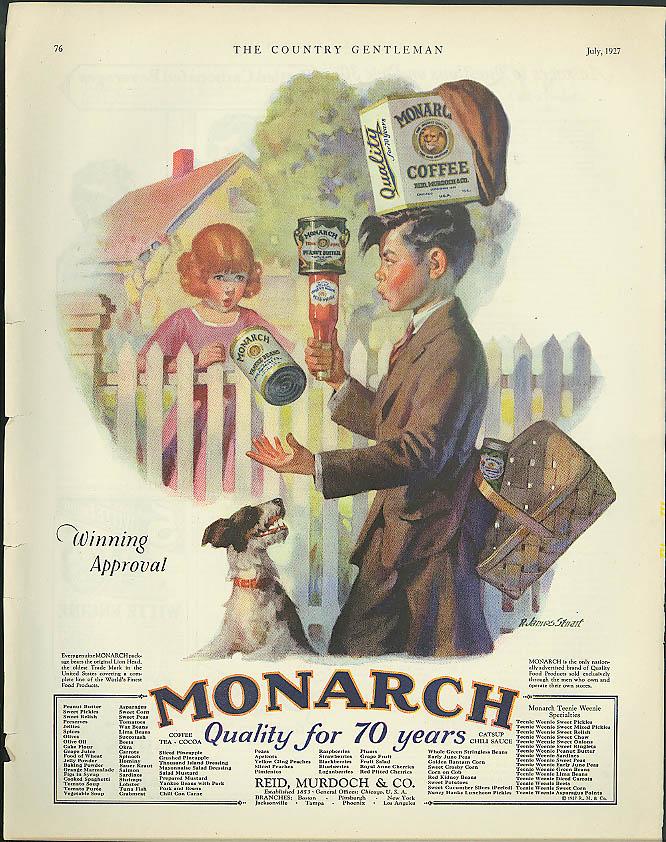 Image for Winning Approval Monarch Foods ad 1927 boy juggles groceries R James Stuart