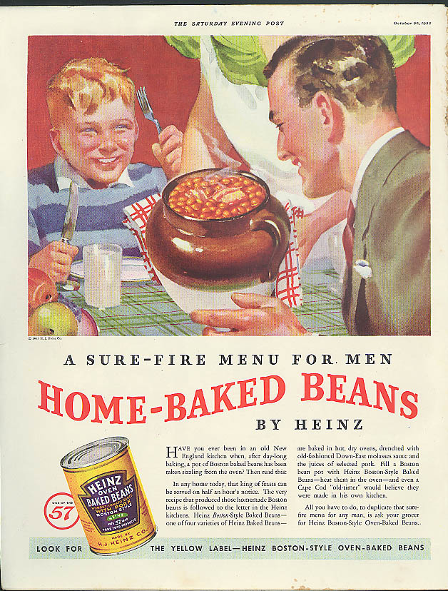Image for Sure fire menu for men Heinz Home-Baked Beans ad 1935